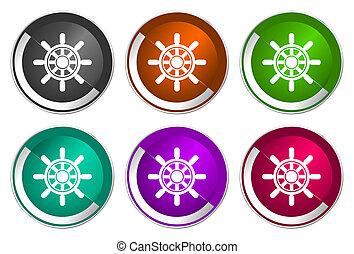 Ship wheel icon set, silver metallic web buttons