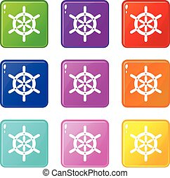 Ship wheel icons 9 set
