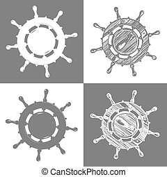 ship wheel marine wooden vintage  vector illustration isolated white background