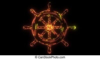 Ship wheel Nautical icon animation laser.