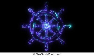Ship wheel Nautical icon animation laser.