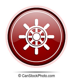 Ship wheel red glossy round web icon. Circle isolated internet button for webdesign and smartphone applications.