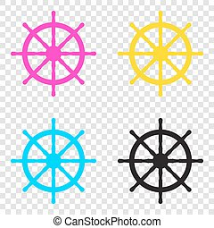 Ship wheel sign. CMYK icons on transparent background. Cyan, mag