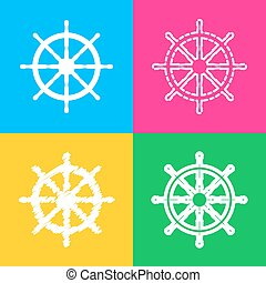 Ship wheel sign. Four styles of icon on four color squares.