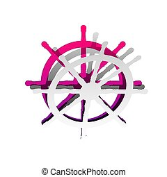Ship wheel sign. Vector. Detachable paper with shadow at underly
