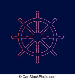 Ship wheel sign. Vector. Line icon with gradient from red to violet colors on dark blue background.