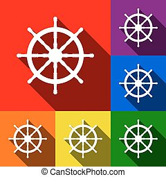 Ship wheel sign. Vector. Set of icons with flat shadows at red, orange, yellow, green, blue and violet background.