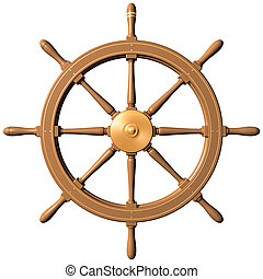 Ship wheel - Isolated illustration of a traditional ships...