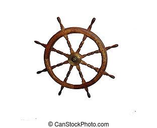 Ship Wheel - Wooden steering wheel of ship