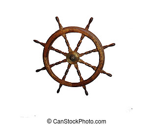 Ship Wheel - Wooden steering wheel of ship