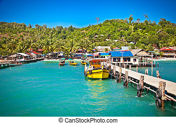Ship while on Koh Rong island, Cambodia. - Ship while on Koh...