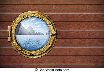 ship window with sea or ocean with tropical island. Travel and andventure concept.