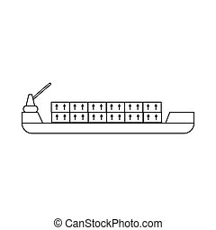 Ship with cargo icon, outline style