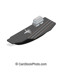 Ship with landing strip for airplanes icon in isometric 3d...