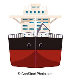 Ship with oil icon, cartoon style