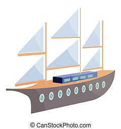 Ship with sails icon, cartoon style