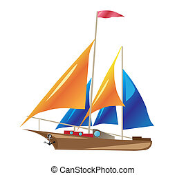 ship with sails illustration isolated on white background