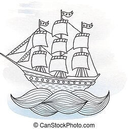 Ship with sails on watercolor background - Ship with sails...