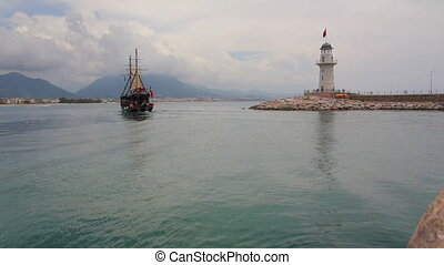 ship with tourists go out of bay - Alanya Turkey