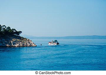 Ship with tourists, the city of Makarska, Croatia