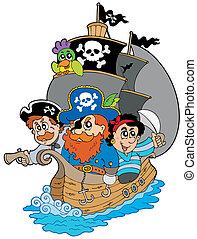 Ship with various cartoon pirates - vector illustration.