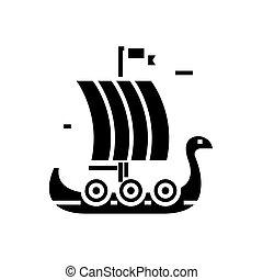 ship wooden viking icon, vector illustration, black sign on ...