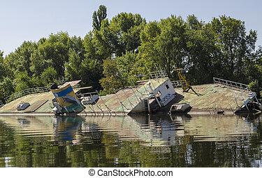 Ship wreck, old ship near the shore