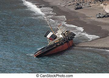 Ship wreck on the coast of Santorini, Greece