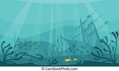 Ship wreckage at the sea - Vector cartoon style underwater...