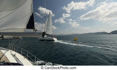 Ship yachts in the open Sea. Luxury