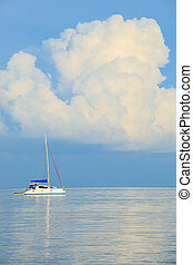 ship yatch and sea with white cloud