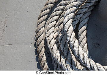 Shipboard Rope - Close up detailed top view of grey nautical...