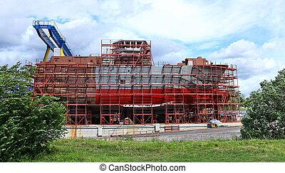 construction of the ship at the shipyard