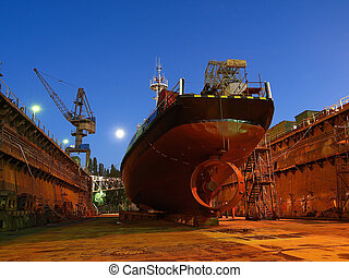 Repair of a small ship to dock.