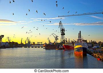 Shipyard in the morning light.
