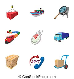 Shipment icons set, cartoon style