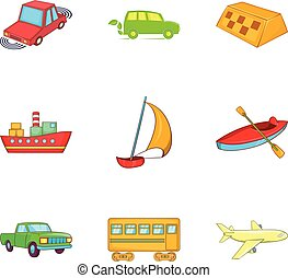 Shipment icons set, cartoon style - Shipment icons set....