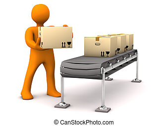 Orange cartoon character with carton with assembly line. White background.