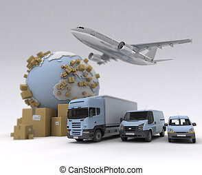 Shipment - The Earth, lots of boxes and a transportation...