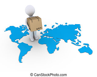 Shipment to the whole world - 3d person holding a carton box...
