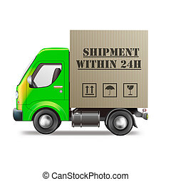 shipment within 24h fast package delivery cardboard box on delivery truck isolated on white