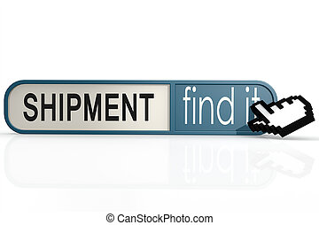 Shipment word on the blue find it banner