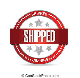 shipped seal illustration design over a white background