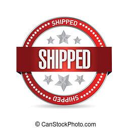 shipped, sigillo, illustrazione, disegno