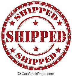 Shipped-stamp - Grunge rubber stamp with word Shipped,vector...