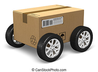 Shipping, logistics and delivery concept: cardboard box with car wheels isolated on white background All text labels, numbers and barcodes are fully abstract