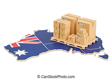 Shipping and Delivery from Australia concept, 3D rendering