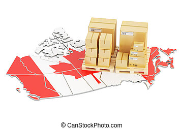 Shipping and Delivery from Canada concept, 3D rendering