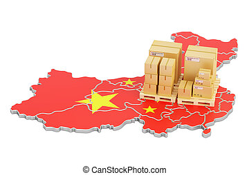 Shipping and Delivery from China concept, 3D rendering
