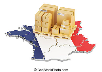 Shipping and Delivery from France concept, 3D rendering